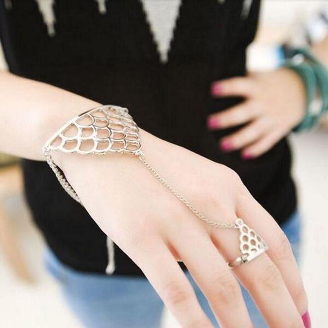 Komplet: bransoletka i pierścionek - złoty trójkąt 1