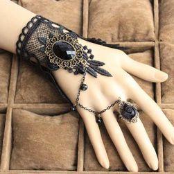 Fekete lenyűgöző karkötő egy gyűrűvel - fekete rózsa