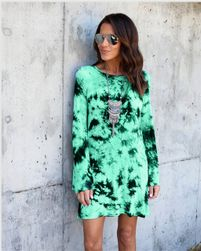 Letní šaty s odhalenými zády - batikované