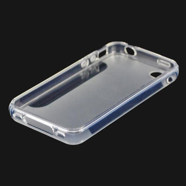 Průhledné ochranné pouzdro pro iPhone 4 a 4S - bílé polomatné 1
