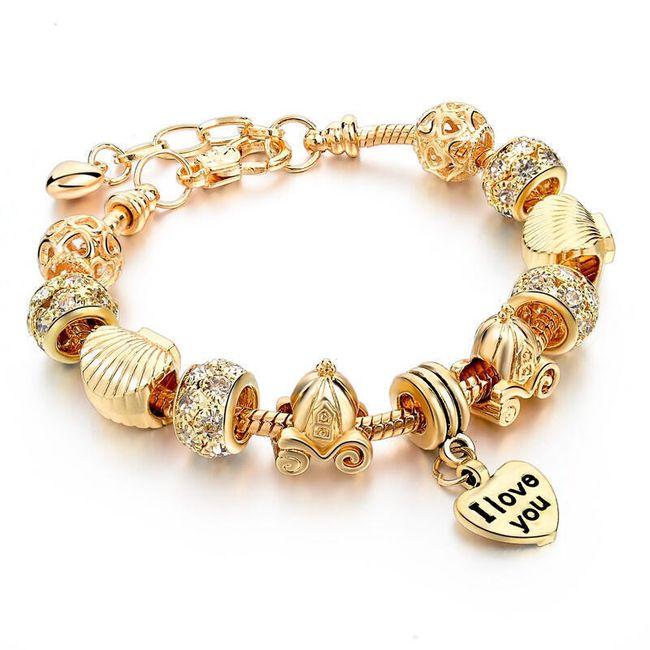Női karkötő gyöngyökkel és szívvel - 3 változat 1