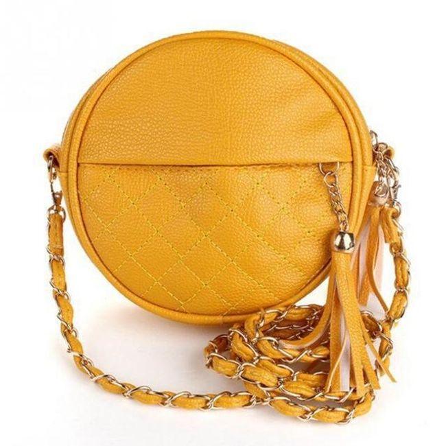 Kulatá kabelka se střapcem - Žlutá 1