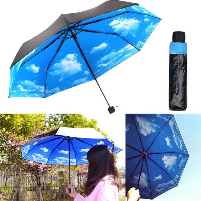 Черный зонт с облачным небом 1