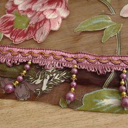 Firanka w kwiaty - 2 rozmiary Bordowy z koralikami 100 x 200 cm