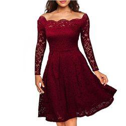 Svečana čipkasta obleka Rdeča1 velikost št. 4