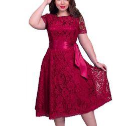Dámské krajkové šaty plus size Lisha - 3 barvy