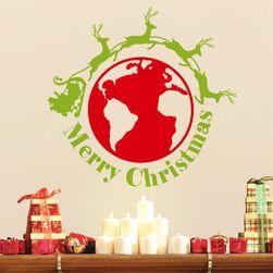 Samolepka na zeď - Merry Christmas se zeměkoulí