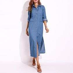 Dlouhé džínové šaty - 2 barvy