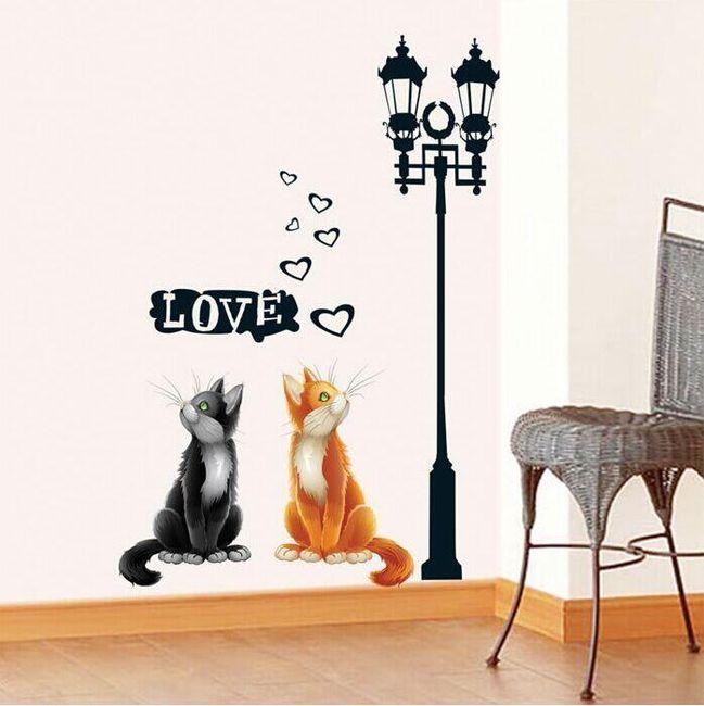 Samolepka na zeď - kočičky pod lampou 1