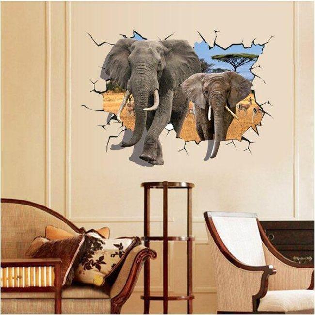 3D стикер со слонами 1