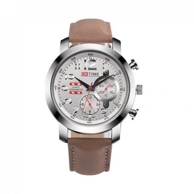 Pánské hodinky se zdobeným ciferníkem - Hnědá 1