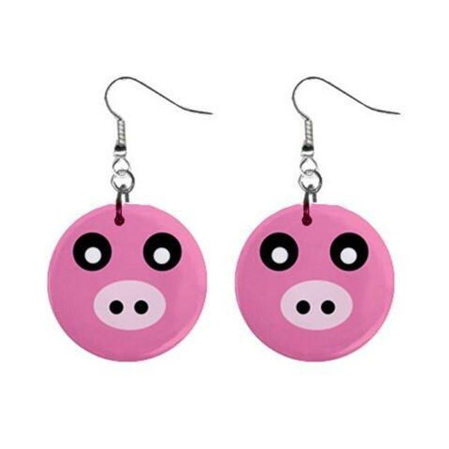 Круглые плоские серьги- Свинка 1