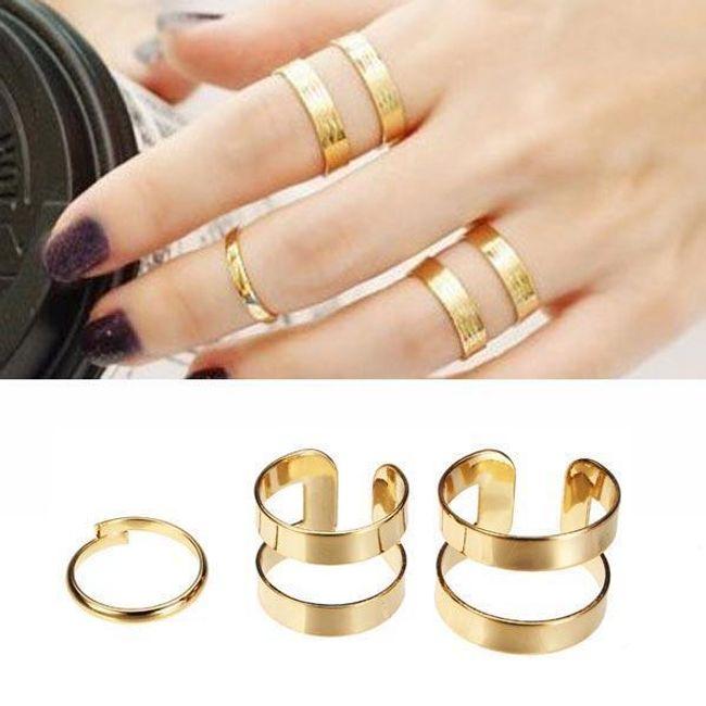3 sztuki gładkich pierścionków 1
