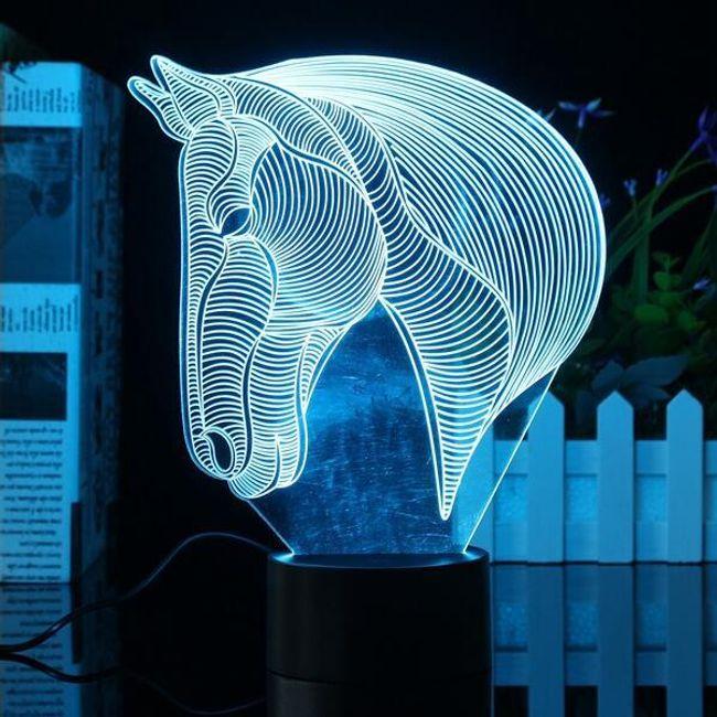 3D LED svetilka v obliki konjske glave 1