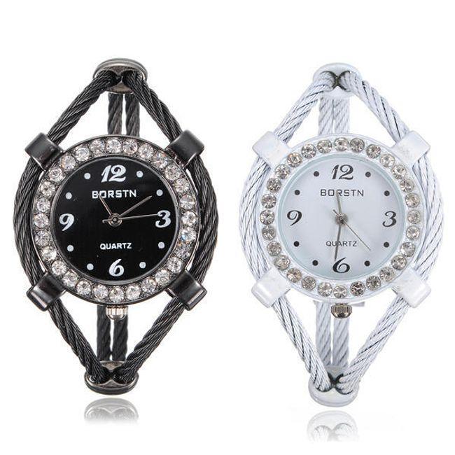 Dámské náramkové hodinky zdobené třpytivými kamínky - na výběr ze 2 barev 1