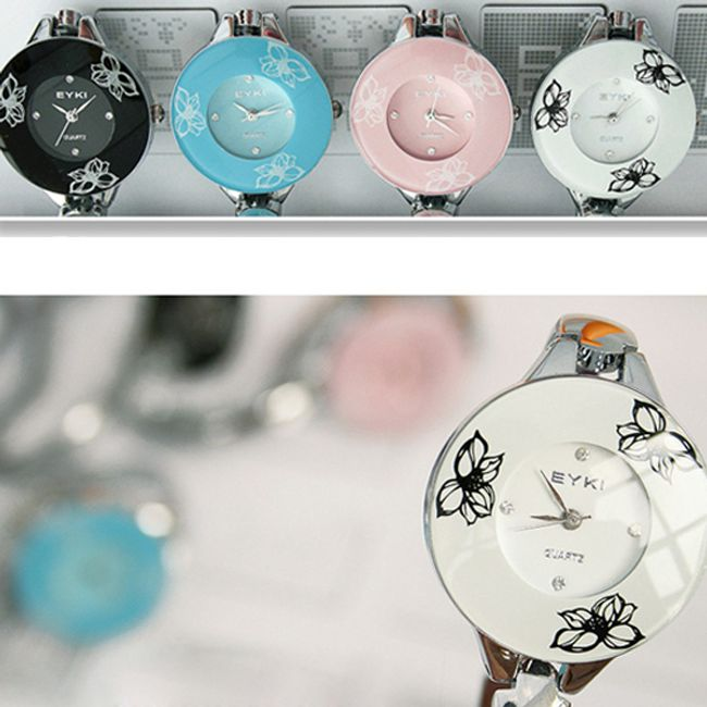 Elegantní dámské náramkové hodinky s motivem lotosových květů ve 4 barvách 1