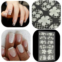 Nalepncie za nokte u obliku bele čipke i cvetova