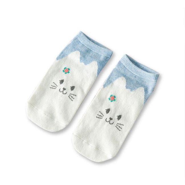 Lélegző lány zokni macskával - 1 pár 1