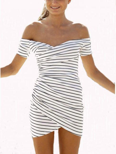 Proužkované dámské šaty v černobílé barvě - L 1