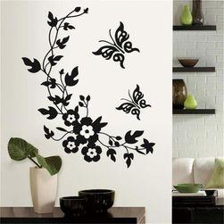 Наклейка на стену - Цветы с бабочками
