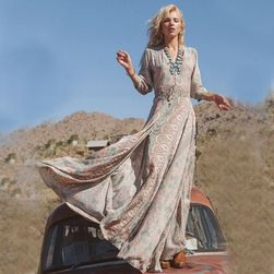 Dlouhé boho šaty s rozparkem - velikost č. 3