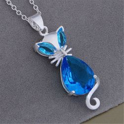 Dámský náhrdelník - modrá kočička