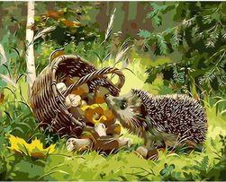 DIY obraz - ježek v lese