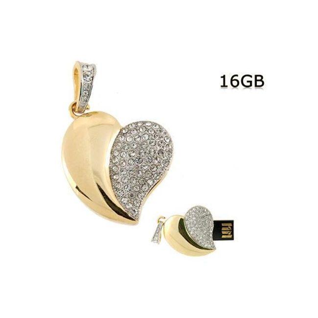 Přívěsek - 16GB Flashdisk ve tvaru srdce zdobený třpytivými kameny 1