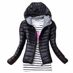 Bayan sonbahar kapüşonlu ceket siyah, S