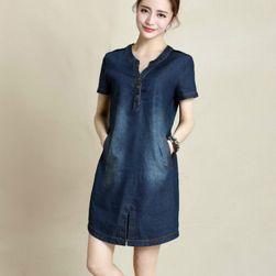 Denim obleka z žepi - 2 različici Modra velikost št. 4