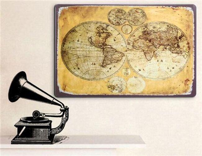 Samolepka na zeď - retro mapa světa 1