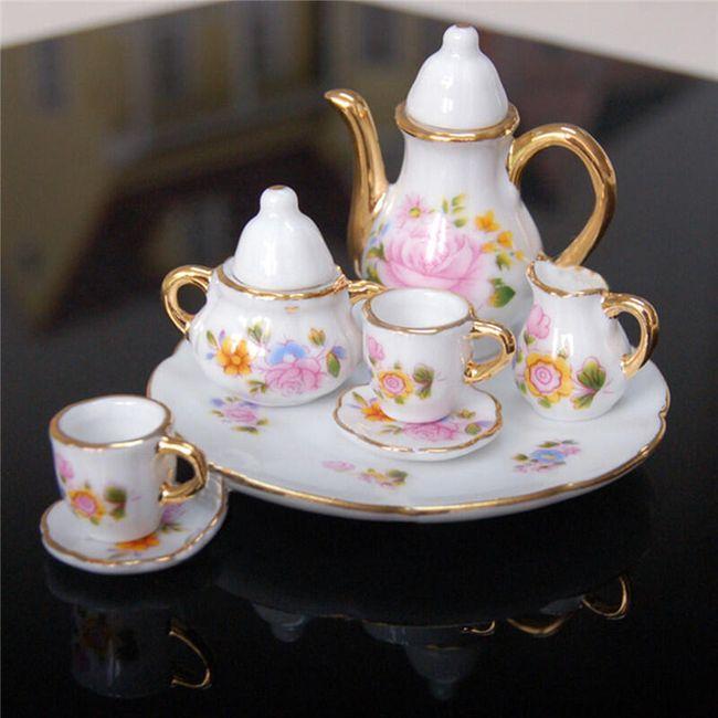 Porcelánová mini čajová sada s květinami 1