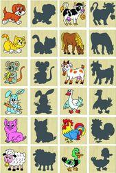 Drewniane zwierzęta pexeso i ich cienie RZ_100446