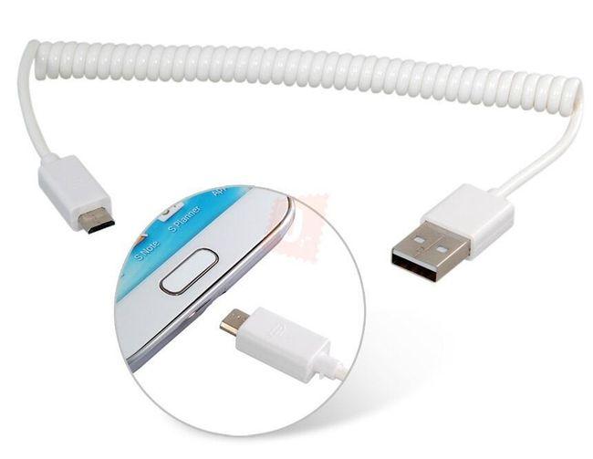 Pružinový micro USB kabel pro nabíjení a přenos dat 1