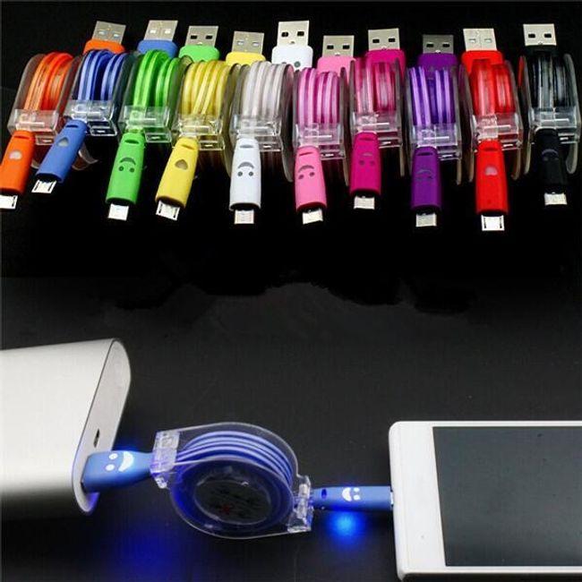 Svetleč zložljiv kabel z mikro USB za polnjenje telefonova 1