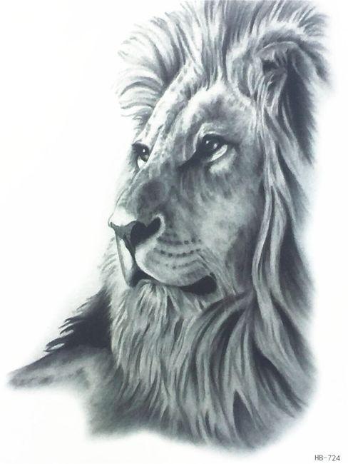 Privremena tetovaža - crno beli lav 1
