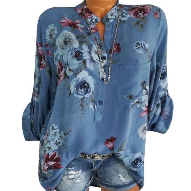 Dámská květinová halenka - Modrá-velikost č. 8 1