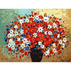 DIY живопись по номерам- Ваза с цветами