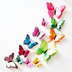 Ozdobne motyle z podwójnymi skrzydłami - 12 sztuk - różne kolory