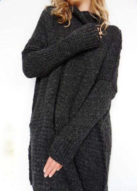 Dámský volný svetr s rolákem v ležérním stylu - Černá-velikost č. 2 1