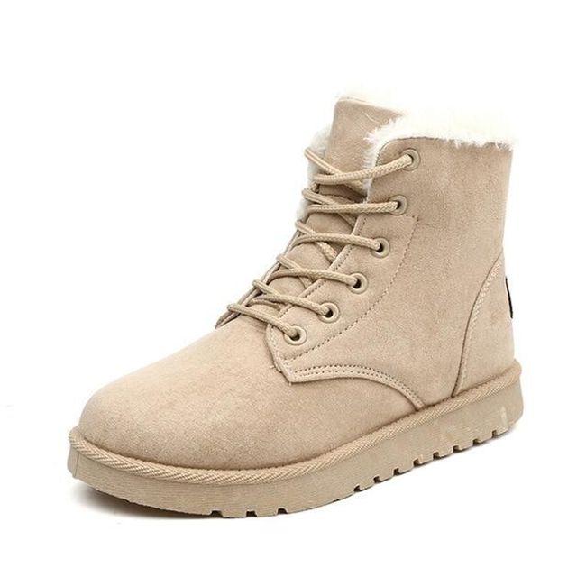 Zateplené dámské boty - Béžová-7 1