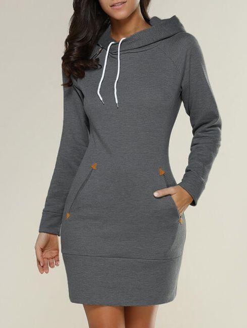 Mikinové šaty s kapucí a kapsami - Tmavě šedá - velikost č. 3 1