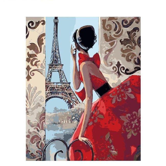 DIY obraz k vybarvení - žena v Paříži 1