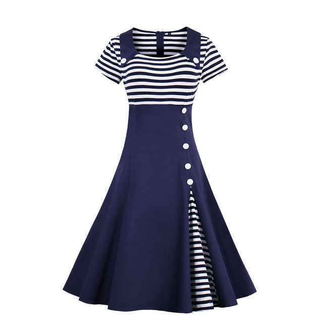Námořnické retro šaty - Modrá-velikost č. 8 1