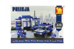 Stavebnica Dromader Polícia Stanica + Auto + Motorka 223ks v krabici 35x25x6cm RM_23223509