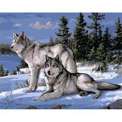 DIY живопись по номерам- Волки