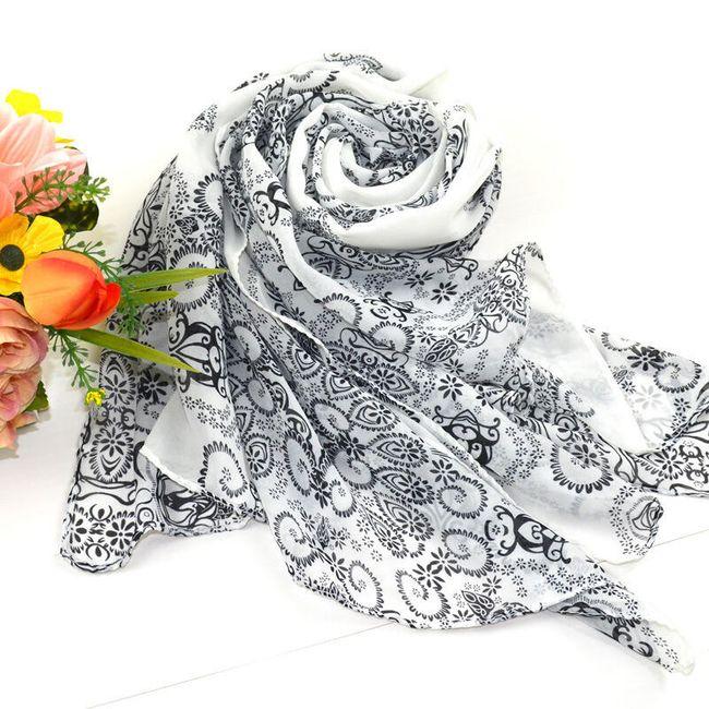 Dámský šátek - bílá + květiny 1