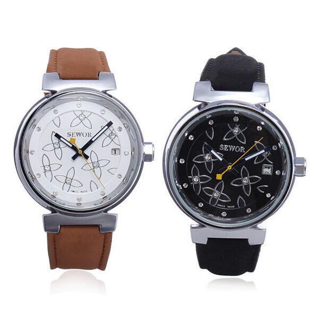 SEWOR květované hodinky s koženým páskem 1
