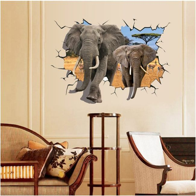 3D samolepka na zeď se slony 1