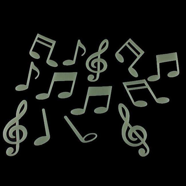 Naklejki fluorescencyjne na ścianę z motywem muzycznym - opakowanie zawiera 15 szt  1
